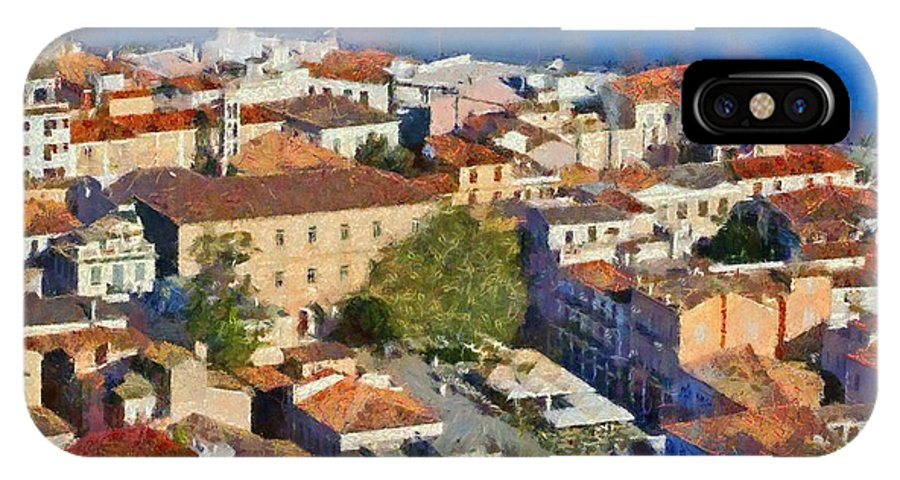 Nafplio; Old; City; Town; House; Houses; Color; Colour; Colorful; Colourful; Peloponnesus; Peloponnese; Argolis; Argolida; Greece; Greek; Hellas; Europe; European; Sea; Blue; Paint; Painting; Paintings IPhone X Case featuring the painting City Of Nafplio by George Atsametakis