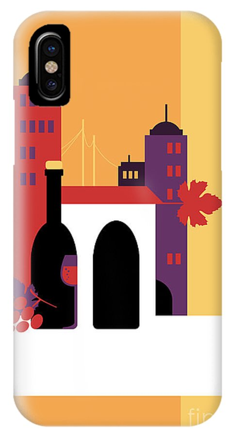 Red Wine IPhone X Case featuring the digital art City Of Wine by Elenabsl