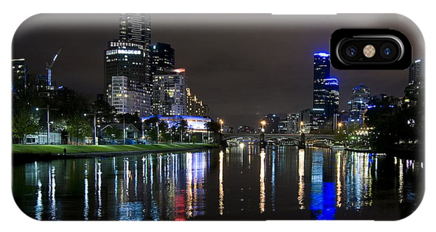 River IPhone X Case featuring the photograph City Reflections by Heather Provan