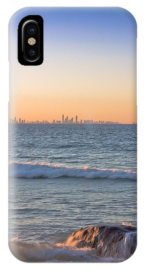 IPhone X Case featuring the photograph City Skyline And Flowing Water by Casey McKenna