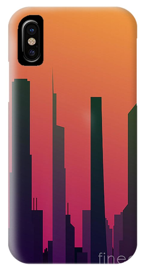 Office IPhone X Case featuring the digital art Cityscape Design Orange Version | Eps10 by Clickhere