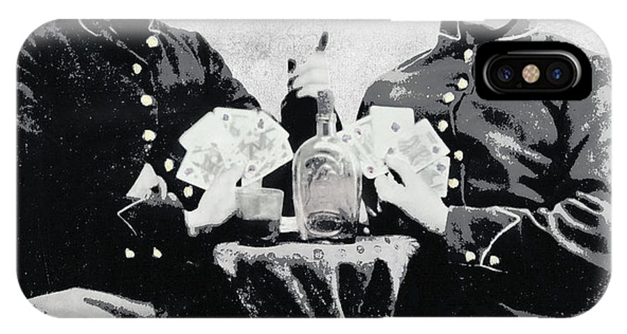 civil War IPhone X Case featuring the photograph Civil War Whiskey And Cards C. 1863 by Daniel Hagerman
