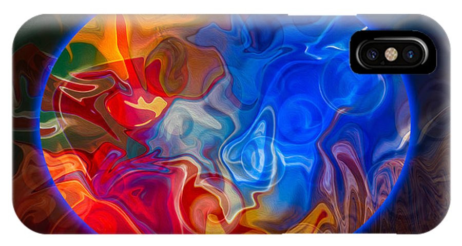 4x5 (8x10) IPhone X Case featuring the painting Clarity In The Midst Of Confusion Abstract Healing Art by Omaste Witkowski