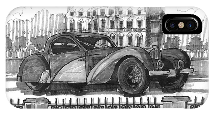 Classic Auto IPhone X Case featuring the drawing Classic Auto With Chateau by Richard Wambach