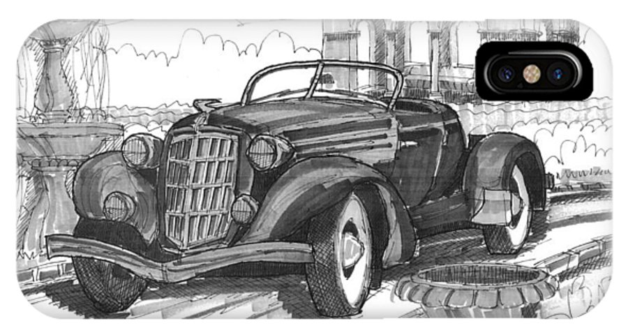 Classic Auto IPhone X Case featuring the drawing Classic Auto With Formal Gardens by Richard Wambach