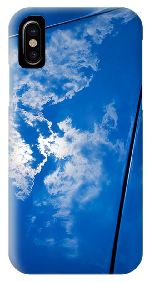 Reflection IPhone X Case featuring the photograph Classic Car Blue - 09.20.08_330 by Paul Hasara