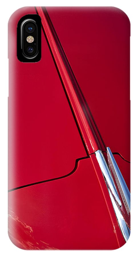 Hood IPhone X Case featuring the photograph Classic Car Red - 09.20.08_456 by Paul Hasara