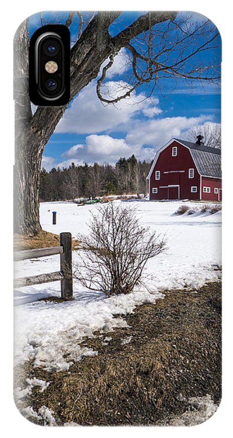 Red IPhone X Case featuring the photograph Classic New England Farm Scene by Edward Fielding