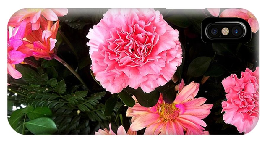 Pink-blue Ribbon Cancer Campaign IPhone X Case featuring the photograph Carnations The Spanish Flower by Vladimir Berrio Lemm