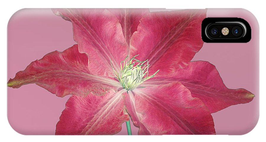 Clematis IPhone X Case featuring the digital art Clematis In Gentle Shades Of Red And Pink. by Rosemary Calvert