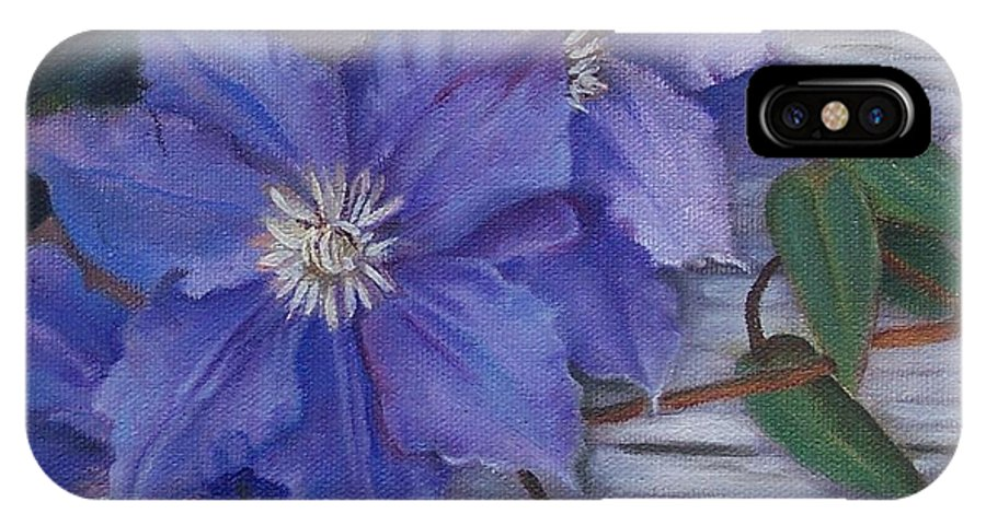 Still Life IPhone X / XS Case featuring the painting Clematis by Marlene Book