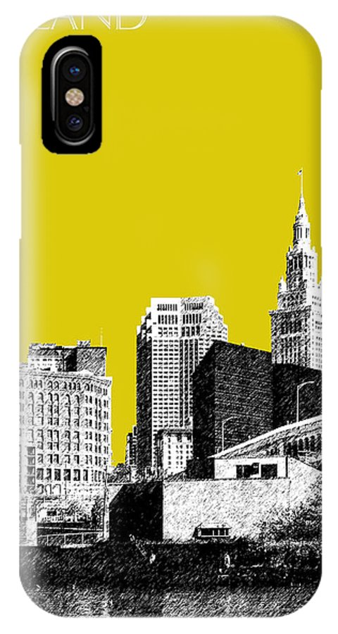 Architecture IPhone X Case featuring the digital art Cleveland Skyline 3 - Mustard by DB Artist