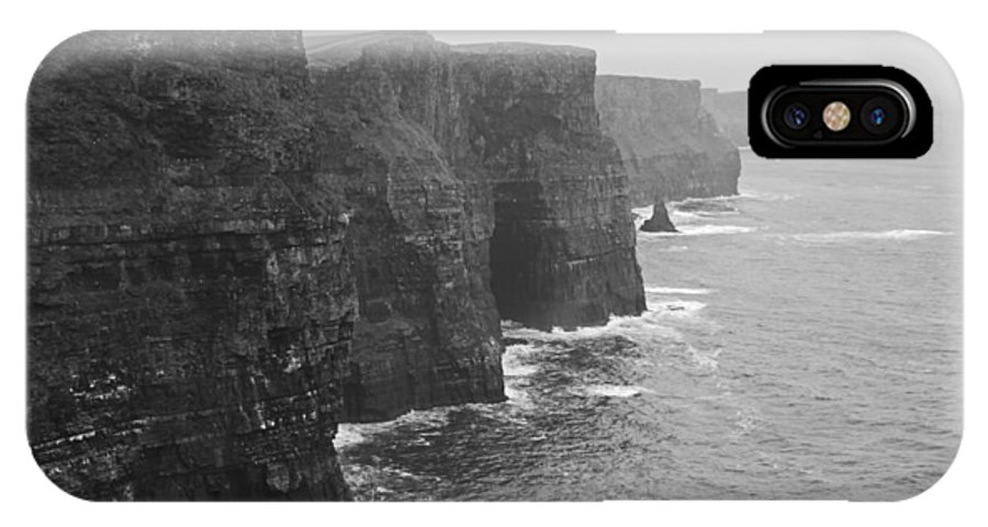 Dublin IPhone X Case featuring the photograph Cliff Of Moher Ireland Bw by Joseph Semary