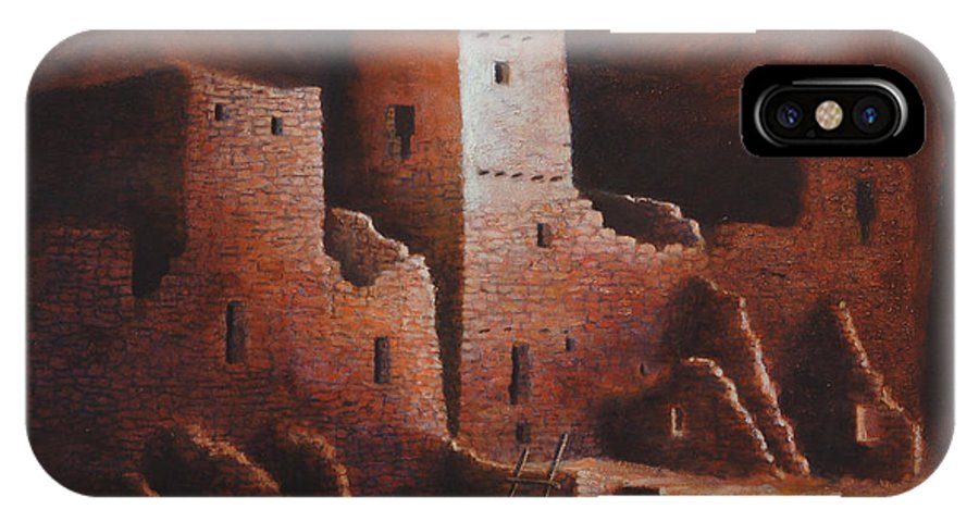 Anasazi IPhone X Case featuring the painting Cliff Palace by Jerry McElroy