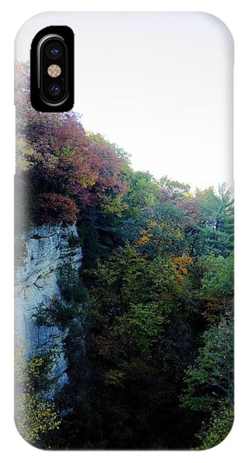 Fall IPhone X Case featuring the photograph Rock Cliff With Trees by Patrick Warneka