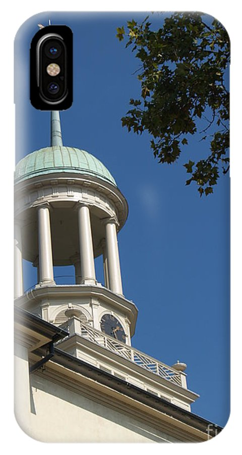 Central Moravian Church IPhone X Case featuring the photograph Clock Tower - Central Moravian Church by Anna Lisa Yoder