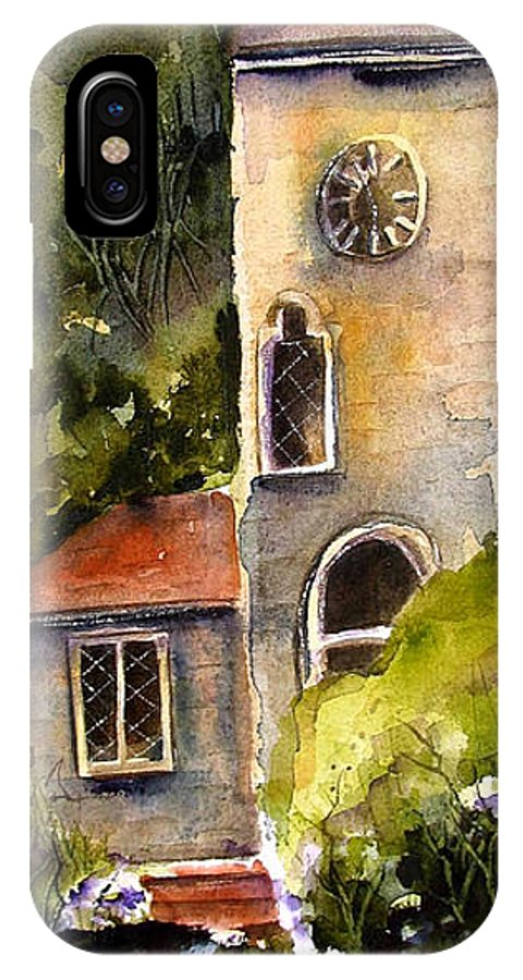 Clock Tower IPhone X Case featuring the painting Clock Tower England by Marti Green