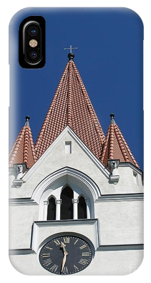 Clock IPhone X Case featuring the photograph Clock Tower. Evangelic Lutheran Church. Silute. Lithuania. by Ausra Huntington nee Paulauskaite