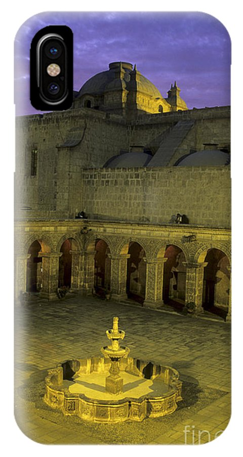 Peru IPhone X Case featuring the photograph Cloisters At Sunset Arequipa Peru by James Brunker