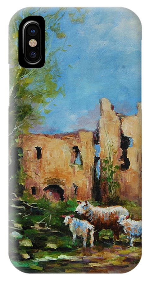 Clonmore Castle IPhone X Case featuring the painting Clonmore Castle Ireland by Jacinta Crowley-Long