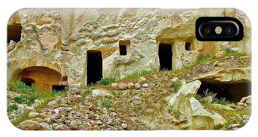 Close-up Of Tufa-carved Homes In Cappadocia IPhone X Case featuring the photograph Close-up Of Tufa-carved Homes In Cappadocia-turkey by Ruth Hager