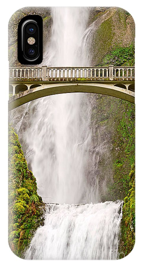 Waterfall IPhone X Case featuring the photograph Close Up View Of Multnomah Falls In The Columbia River Gorge Of Oregon by Jamie Pham