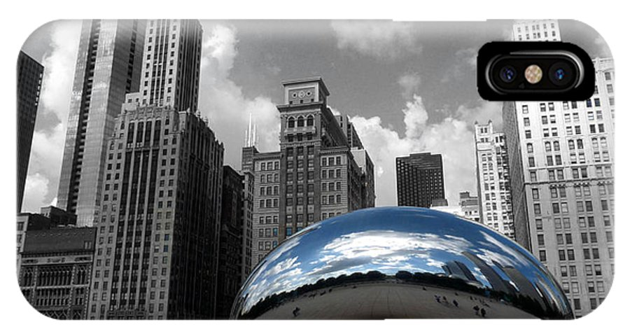 Chicago IPhone X Case featuring the photograph Cloud Gate B-W Chicago by David Bearden