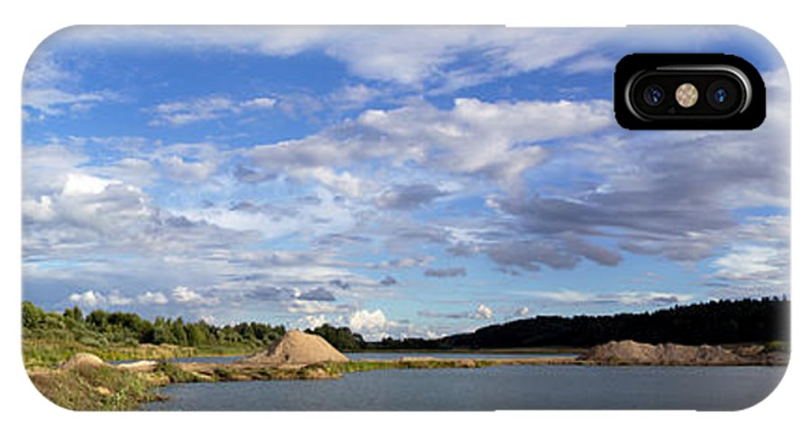Panoramic IPhone X Case featuring the photograph Cloudscape Panorama by Ramunas Bruzas