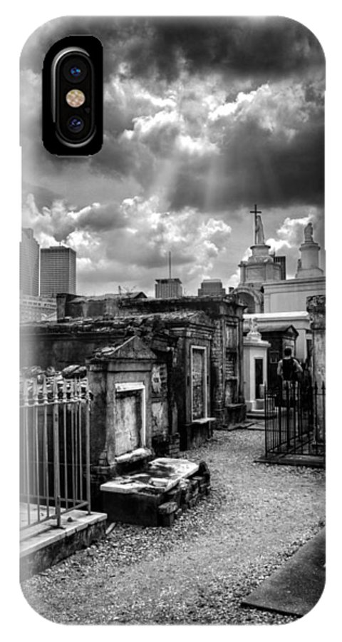Path IPhone X / XS Case featuring the photograph Cloudy Day At St. Louis Cemetery In Black And White by Chrystal Mimbs