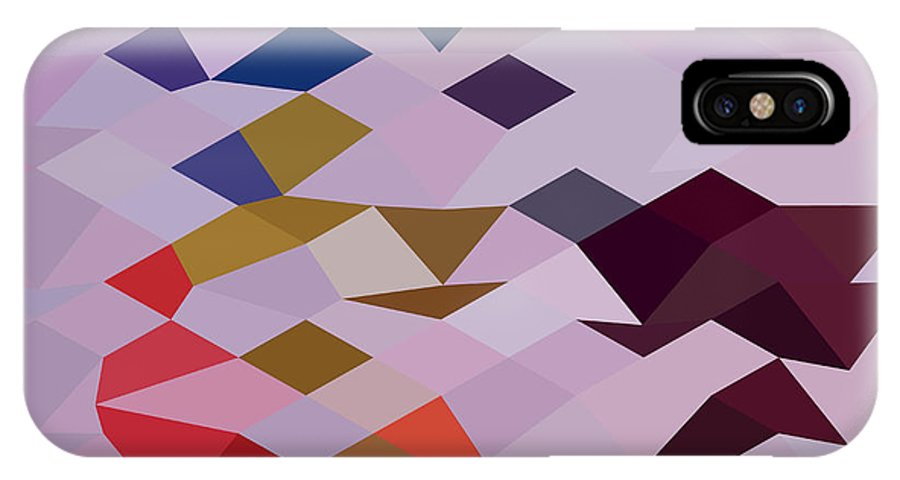Low Polygon IPhone X Case featuring the digital art Clown Abstract Low Polygon Background by Aloysius Patrimonio