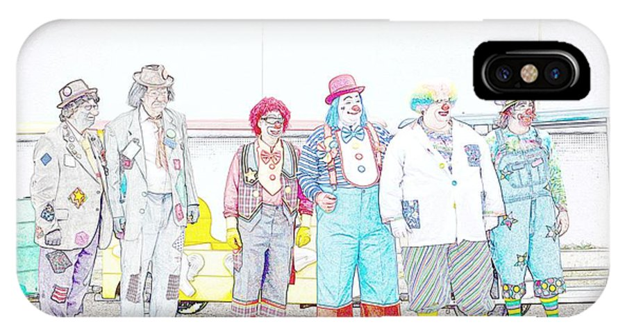 Lineup IPhone X Case featuring the photograph Clown Lineup by Darrell Clakley