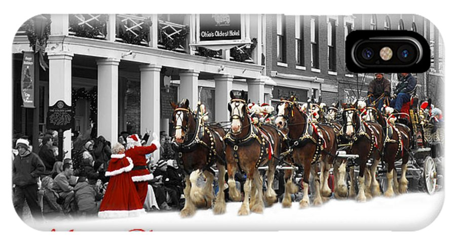 8 Horse Team IPhone X Case featuring the photograph Clydesdale Team Christmas Card by Randall Branham