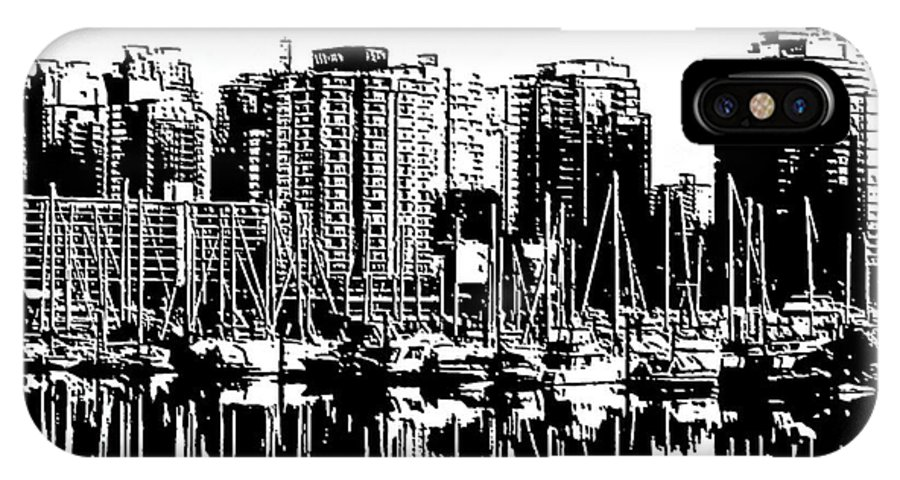 Vancouver IPhone X Case featuring the digital art Vancouver Canada Coal Harbour Centre Panel by Patricia Keith