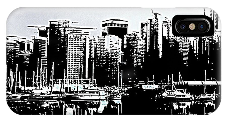 Vancouver IPhone X Case featuring the digital art Vancouver Canada Coal Harbour Triptych Left Panel by Patricia Keith