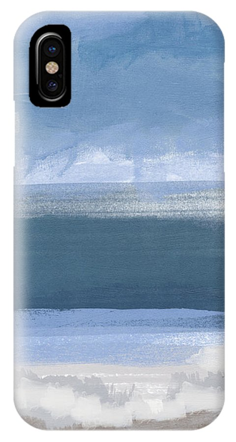 Coastal IPhone X Case featuring the painting Coastal- Abstract Landscape Painting by Linda Woods