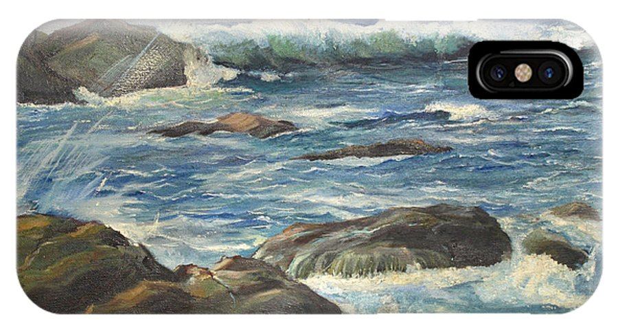 Ocean IPhone X Case featuring the painting Coastal Maine by Barbara McDevitt