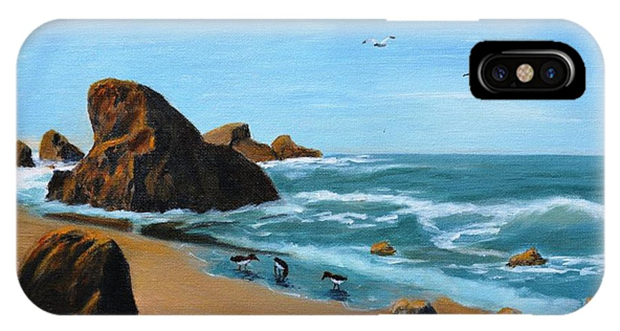 Ocean IPhone X Case featuring the painting Coastal Oregon II by Patricia Novack