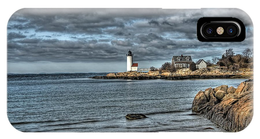 Annisquam Lighthouse IPhone X Case featuring the photograph Coastal View Of Annisquam Lighthouse by Liz Mackney