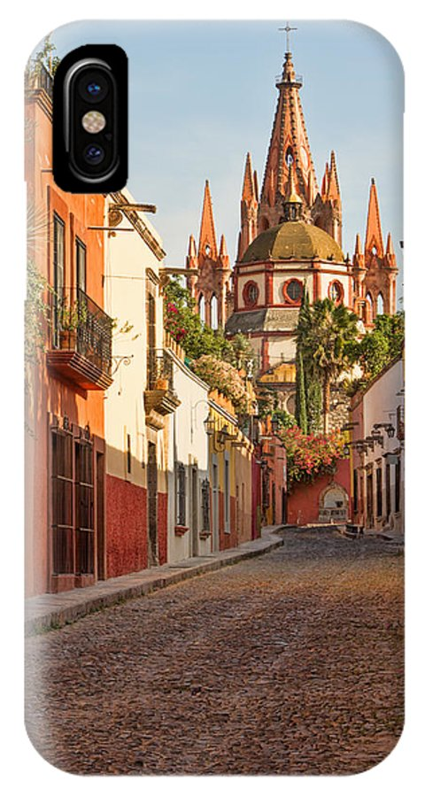 San Miguel IPhone X Case featuring the photograph Cobblestone Street In San Miguel De Allende by Lindley Johnson