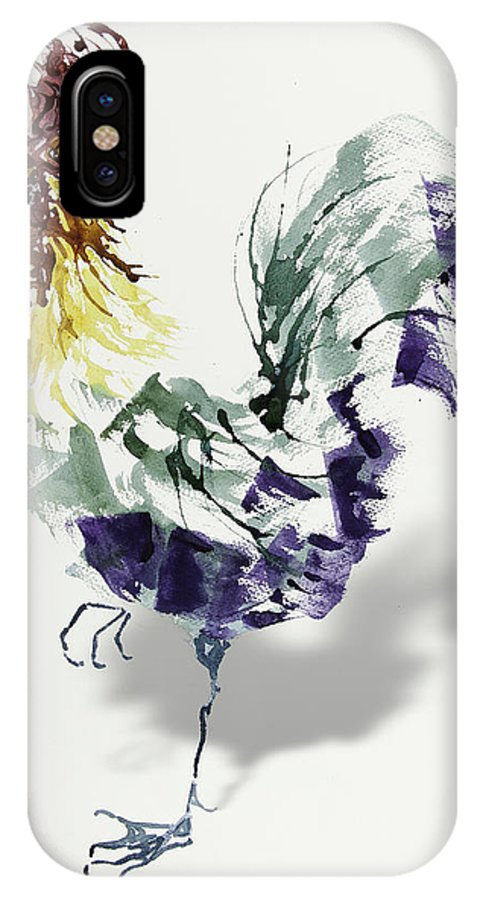 Esthers Prints & Cards IPhone X Case featuring the painting Cock Of The Walk by Esther Willsher