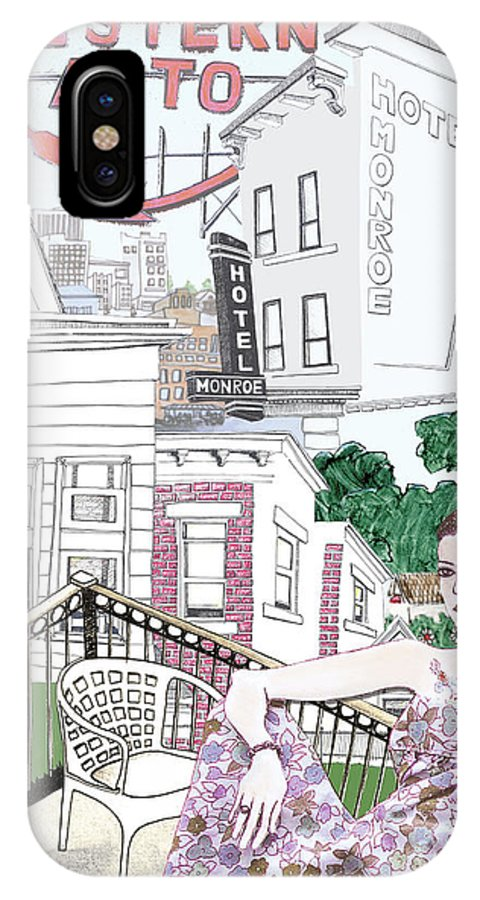 Cityscape IPhone X Case featuring the mixed media Coffee And Cigarettes by Michele Fritz