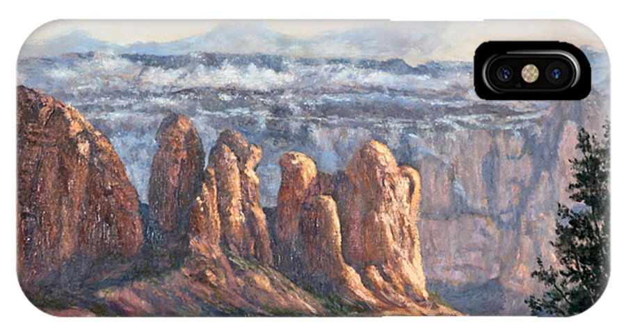 Oil Painting IPhone X Case featuring the painting Coffee Pot Rock by Irene Leach