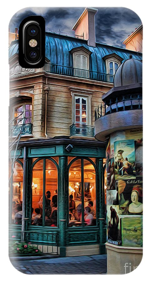 Belle Soiree Au Cafe IPhone X Case featuring the photograph Coffeehouse - Belle Soiree Au Cafe II by Lee Dos Santos