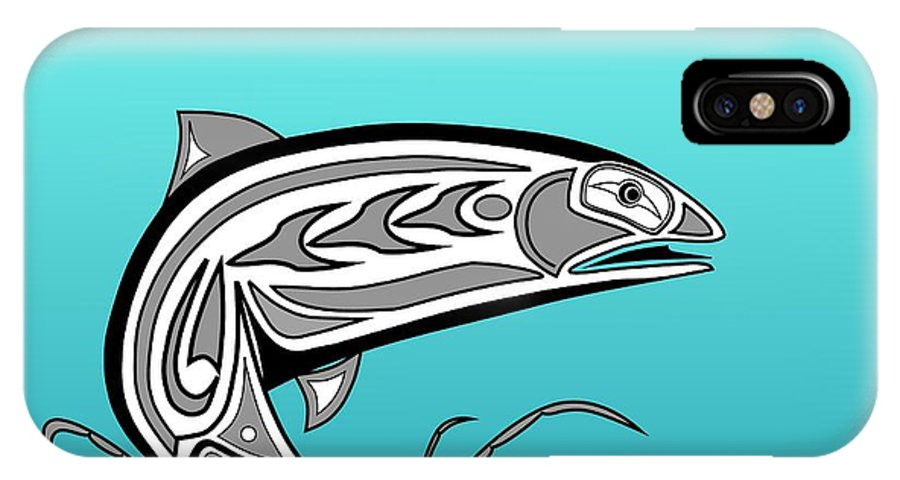 Haida Point Art IPhone X Case featuring the drawing Coho Salmon by Fred Croydon