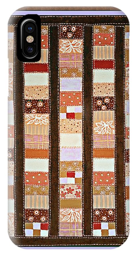 Coin Quilt IPhone X Case featuring the painting Coin Quilt - Painting - Brown And White Patches by Barbara Griffin