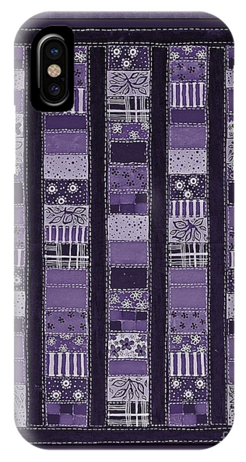 Coin Quilt IPhone X Case featuring the painting Coin Quilt -quilt Painting - Purple Patches by Barbara Griffin