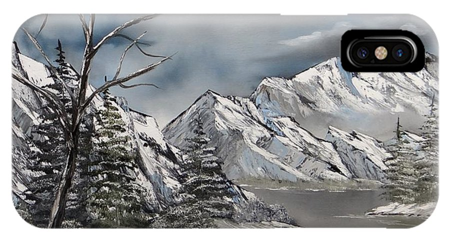 Snow Covered Mountains IPhone X Case featuring the painting Cold Day by Kevin Brown
