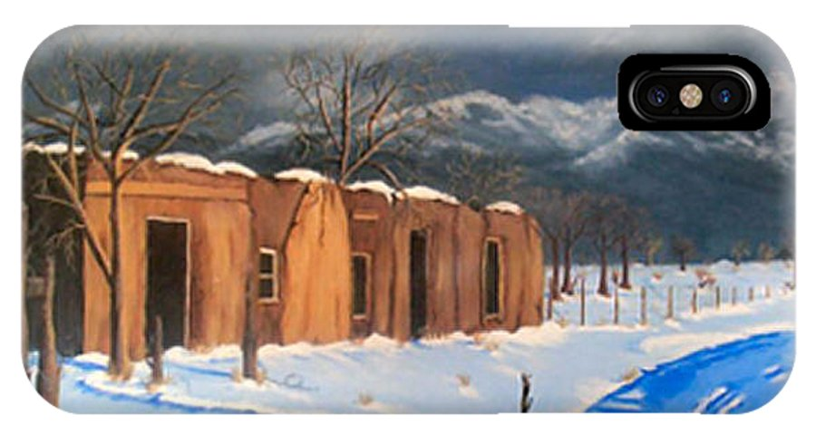 Adobe House IPhone X Case featuring the painting Cold Morning by Sue Stake