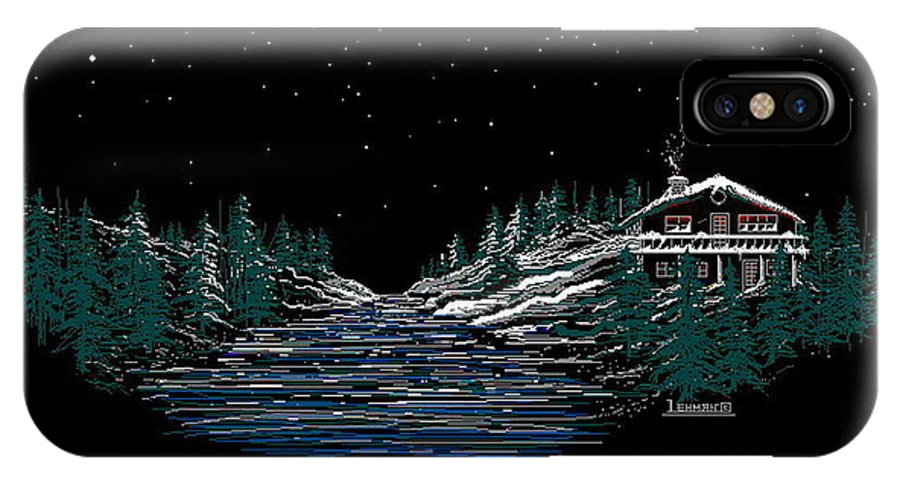 Cold Mountain Winter IPhone X Case featuring the digital art Cold Mountain Winter by Larry Lehman
