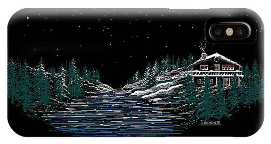 Cold Mountain Winter IPhone Case featuring the digital art Cold Mountain Winter by Larry Lehman